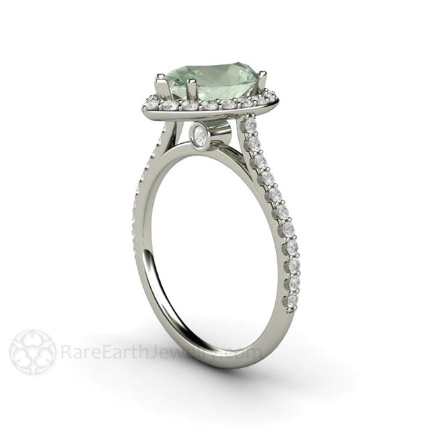 Pear Cut Green Amethyst Ring with Diamonds 14K White Gold Rare Earth Jewelry