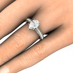 Pear Cut Moissanite Engagement Ring Platinum Setting on Finger Rare Earth Jewelry