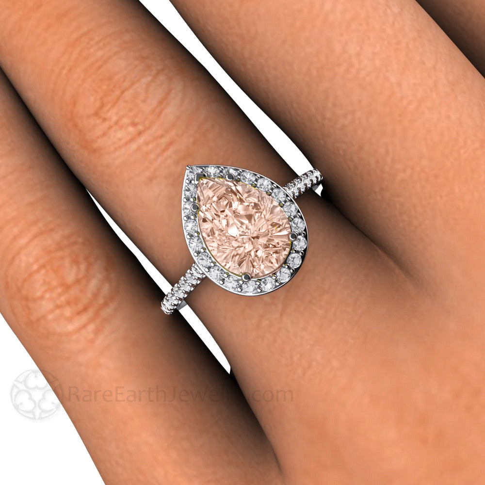 Pear Morganite Halo Right Hand Ring On Finger Rare Earth Jewelry