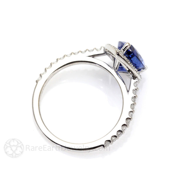 Rare Earth Jewelry Teardrop Sapphire Halo Bridal Ring 14K White Gold