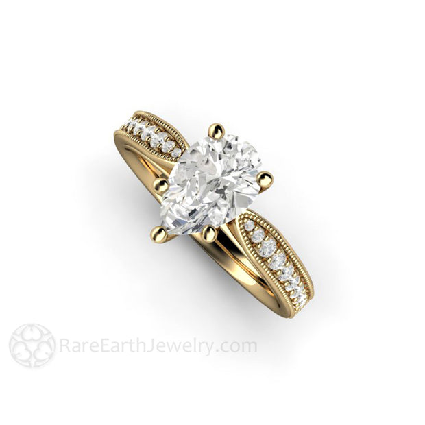 Rare Earth Jewelry 14K Pear Moissanite Ring Vintage Milgrain Setting with Diamonds