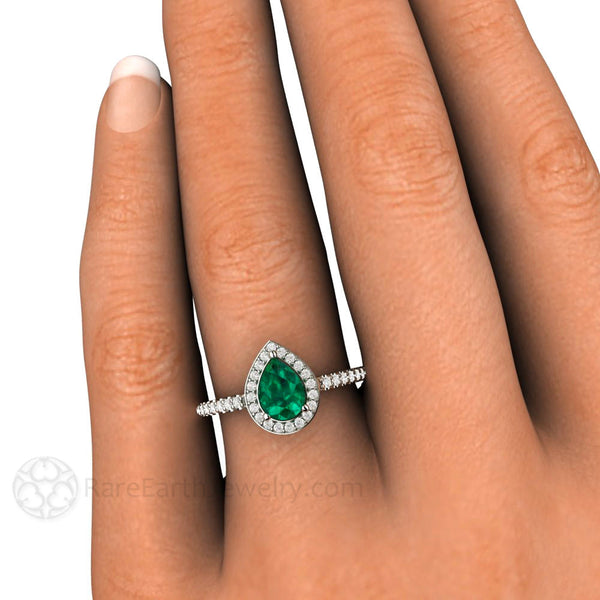Green Emerald Ring With Diamond Halo Pear Shaped Natural