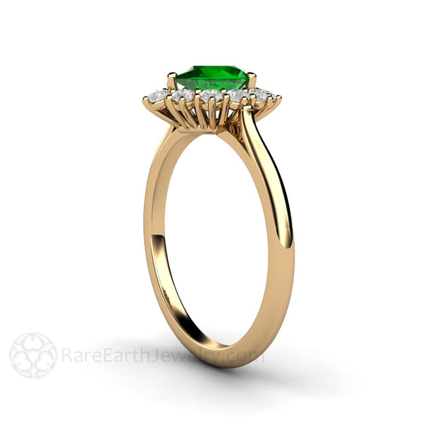 Cluster Diamond Halo Green Garnet Ring Rare Earth Jewelry