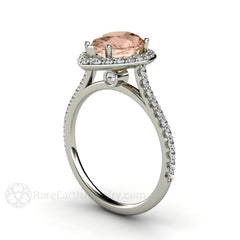 Platinum Morganite Anniversary Ring Pear Shaped Diamond Halo Rare Earth Jewelry