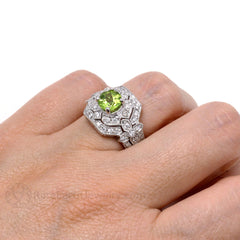 Rare Earth Jewelry Peridot Ring on Finger