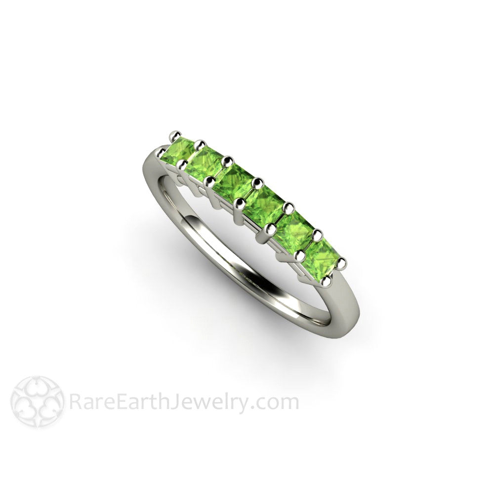 Peridot Ring Princess Cut August Birthstone Band Rare Earth Jewelry
