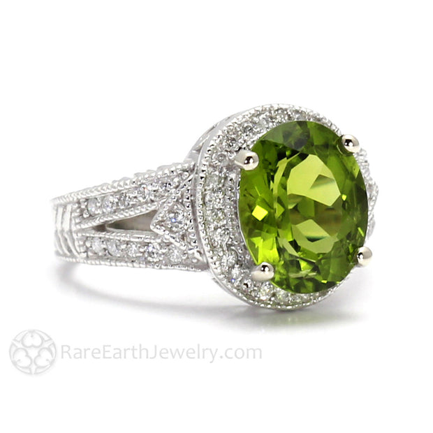 Rare Earth Jewelry August Birthstone Ring Oval Cut Peridot with Diamonds 14K Gold