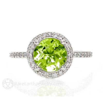 Rare Earth Jewelry Green Peridot Halo Ring 14K August Birthstone