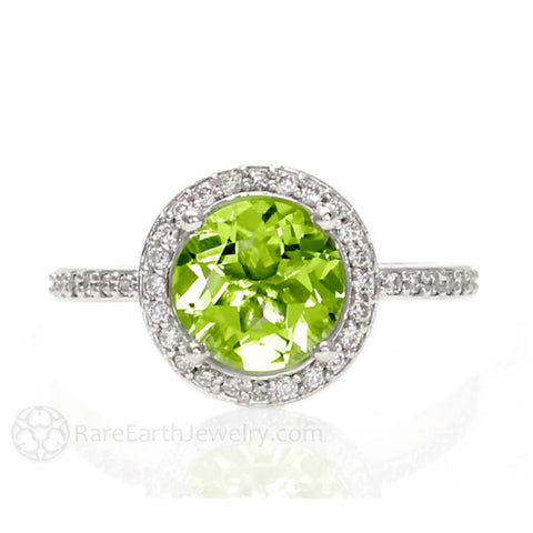 Peridot Ring with Diamond Halo August Birthstone