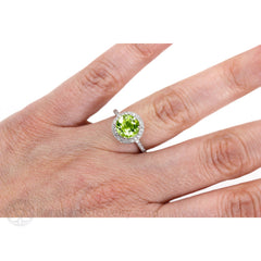 Peridot Halo Right Hand Ring on Finger Rare Earth Jewelry