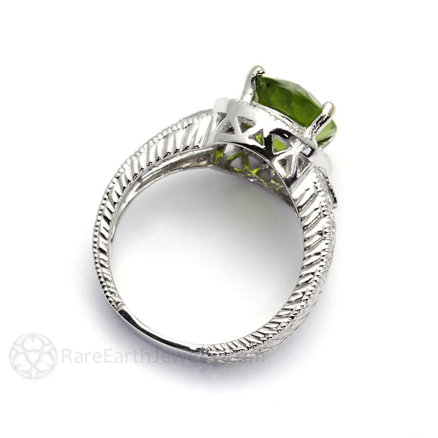 Rare Earth Jewelry 14K Art Deco Vintage Style Oval Peridot Ring with Diamond Accents