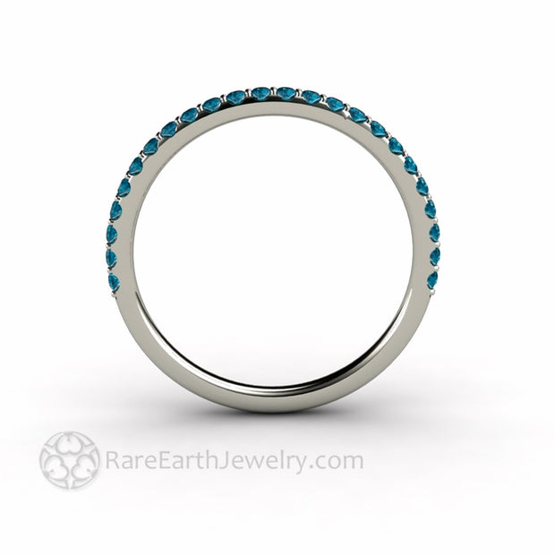 Petite Pave Teal Blue Diamond Wedding Ring Side View
