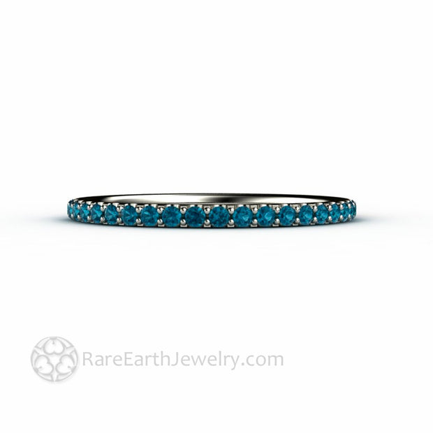 Petite Thin Wedding Ring with Pave Set Blue Diamonds Unique Bridal Jewelry