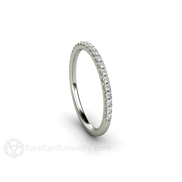 White Gold Diamond Anniversary Band April Birthstone Ring Rare Earth Jewelry