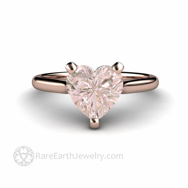 Pink Morganite Engagement Ring Heart Ring Natural Pastel Pink Gemstone by rare Earth Jewelry