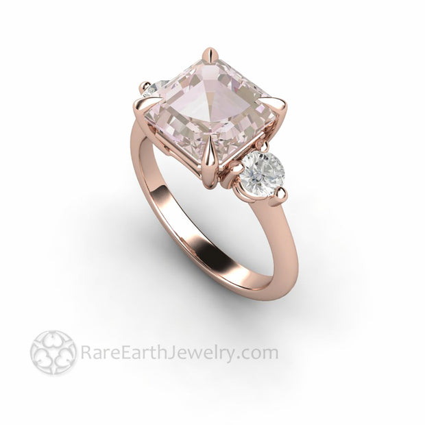 Pink Morganite Engagement Ring Rose Gold Asscher Cut 3 Stone Style