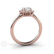 Rare Earth Jewelry Pink and White Diamond Wedding Ring Rose Gold Cluster Halo