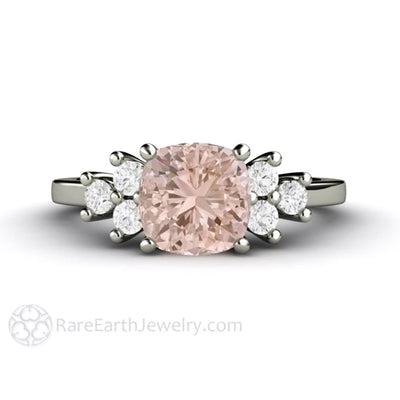 Rare Earth Jewelry Cushion Pink Morganite Engagement Ring Diamond Accent Stones