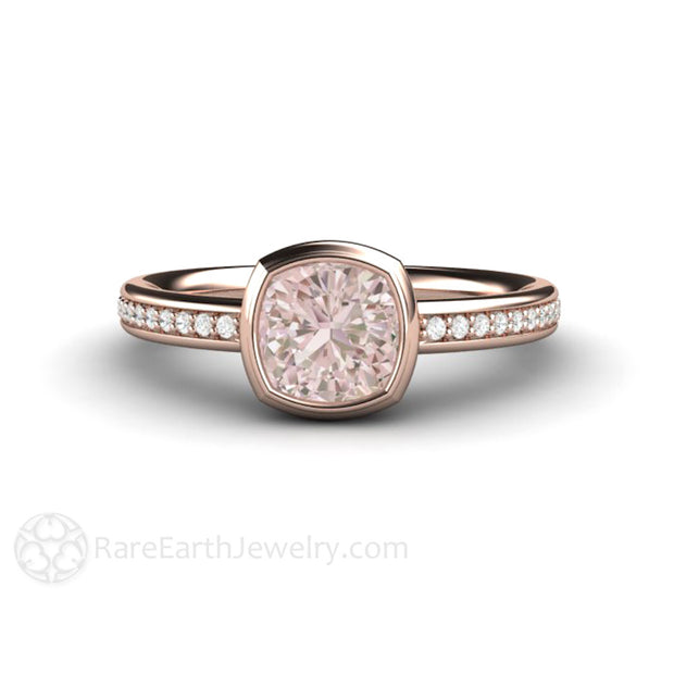 Light Pink Cushion Cut Bridal Ring 18K Rose Gold Bezel Setting with Diamonds Rare Earth Jewelry