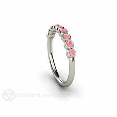 Diamond Anniversary Band Bezel Setting Natural Pink Diamonds Rare Earth Jewelry