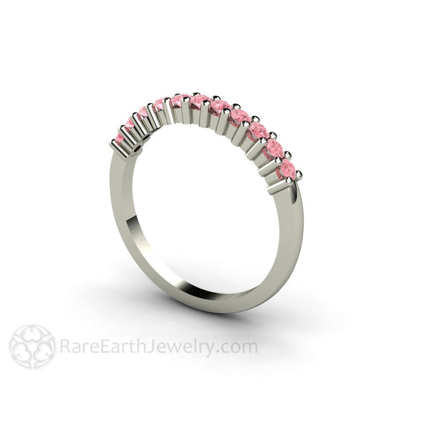 Natural Pink Diamond Bridal Band Stackable 14K Rare Earth Jewelry