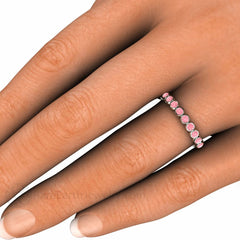 Bezel Set Pink Diamond Ring on Finger Rare Earth Jewelry