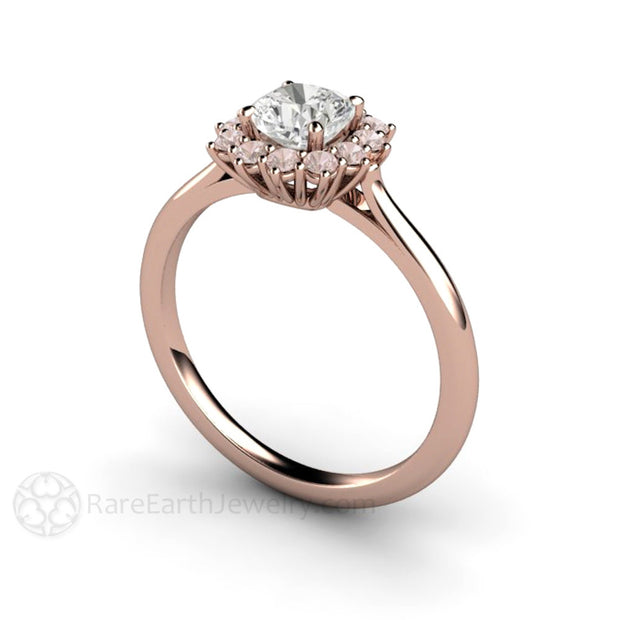 Rare Earth Jewelry 14K Cushion Cut Diamond Anniversary Ring with Pink Diamond Halo