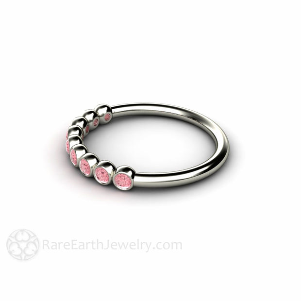 14K Bezel Set Round Pink Diamond Ring Rare Earth Jewelry