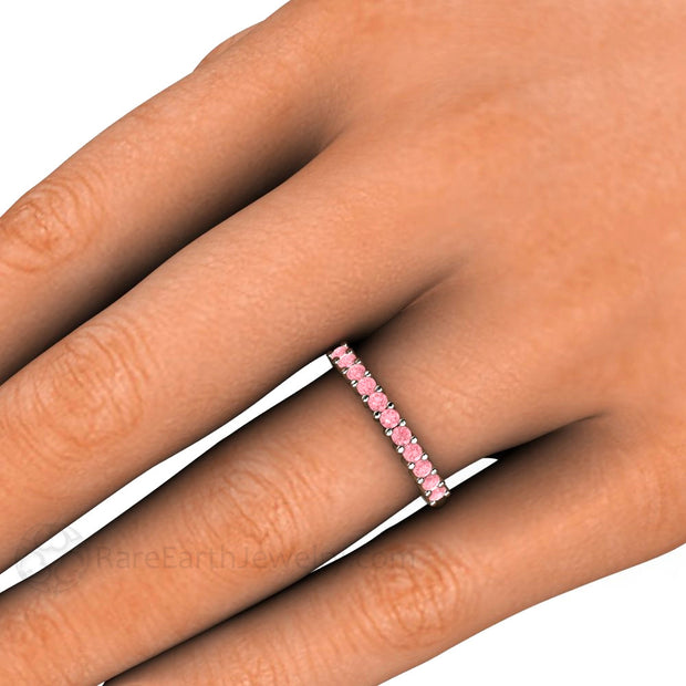 Pink Diamond Stacking Right Hand Ring on Finger Rare Earth Jewelry