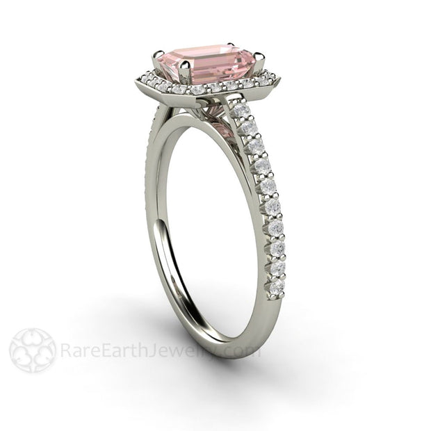 Emerald Pink Moissanite Wedding Ring with Diamonds Rare Earth Jewelry