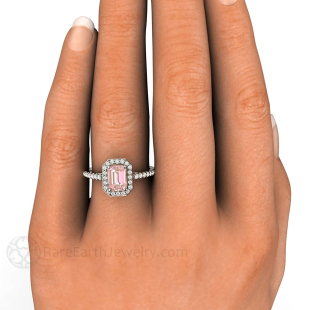 Pink Moissanite Diamond Halo Wedding Ring on Finger Rare Earth Jewelry