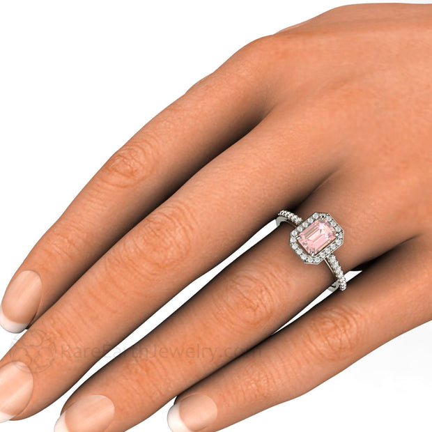 Emerald Cut Pink Moissanite Halo Bridal Ring on Finger Rare Earth Jewelry