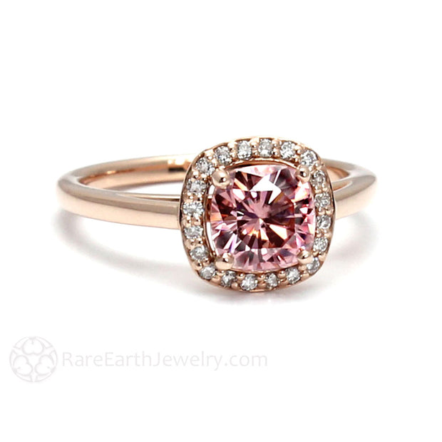 Rare Earth Jewelry Cushion Cut Pink Moissanite Ring 14K or 18K Gold Diamond Halo