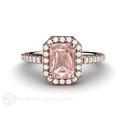 Pink Moissanite Anniversary Ring Diamond Halo Emerald Cut 14K Rose Gold Rare Earth Jewelry