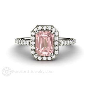 Rare Earth Jewelry Pink Moissanite Engagement Ring Emerald Cut Diamond Halo