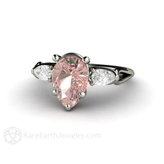 Morganite Alternative Engagement Ring Pink Moissanite Rare Earth Jewelry