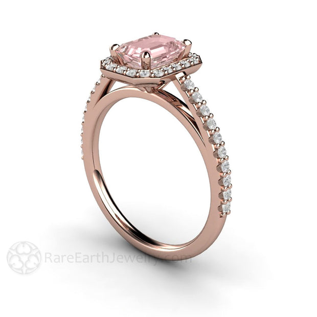 Diamond Halo Pink Moissanite 14K Rose Gold Wedding Ring Rare Earth Jewelry