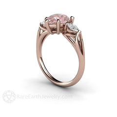 3 Stone Pink Moissanite Ring 14K Rose Rare Earth Jewelry