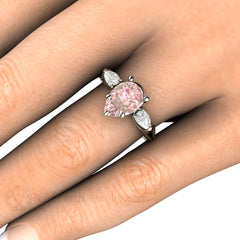Rare Earth Jewelry Pink Moissanite Engagement Ring on Finger