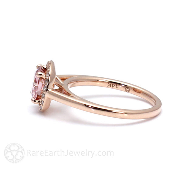 Rare Earth Jewelry Pink Moissanite Halo Ring 14K Rose Gold Cushion Cut