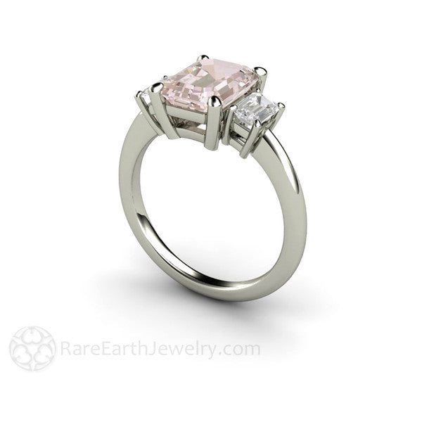 Rare Earth Jewelry Pink Morganite Ring with Sapphires Emerald 3 Stone
