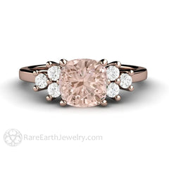 Rare Earth Jewelry Rose Gold Cushion Morganite Ring with Diamond Side Stones 14K or 18K
