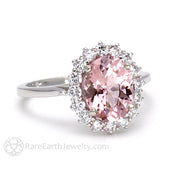 Morganite Engagement Ring Oval Cluster Halo Rare Earth Jewelry