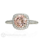Rare Earth Jewelry Morganite Wedding Ring Round Cut with Diamond Halo 14K White Gold