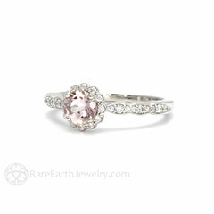 14K Pink Morganite Halo Bridal Ring Round Cut 14K White Rare Earth Jewelry