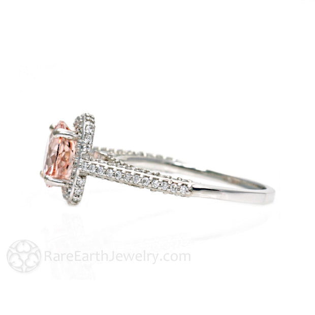 Rare Earth Jewelry Pink Morganite with Pave Diamond Ring 14K White Gold 8mm Round Cut