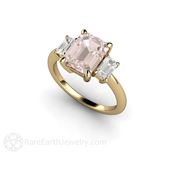 Morganite Bridal Ring 14K Yellow Gold Emerald Cut with Sapphires Rare Earth Jewelry