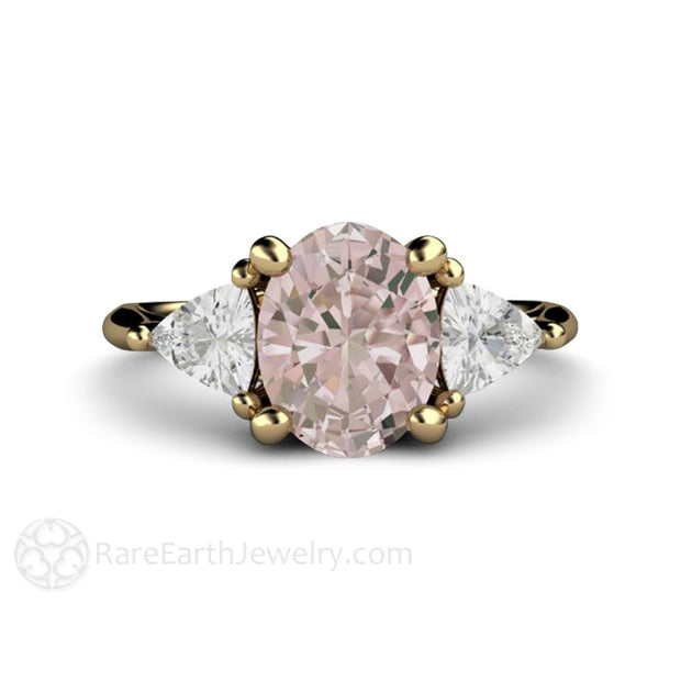 Oval Cut Morganite Bridal Ring 3 Stone Vintage Style Rare Earth Jewelry