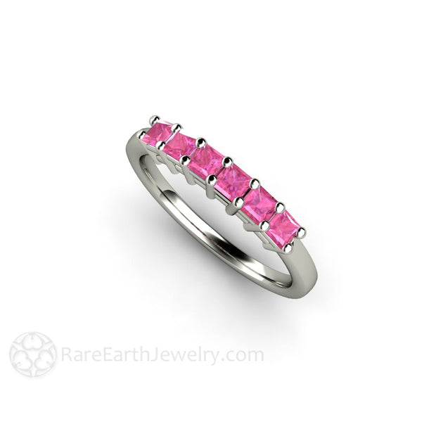14K Princess Cut Pink Sapphire Stacking Band Rare Earth Jewelry