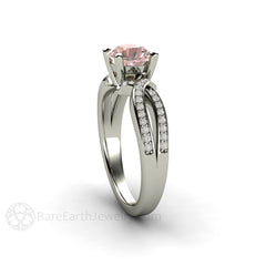 Diamond Infinity Promise Ring with Pink Sapphire Center Stone Rare Earth Jewelry